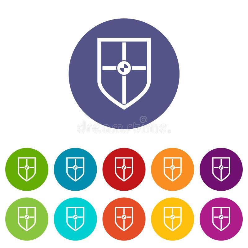 Schild voor strijd vastgestelde pictogrammen vector illustratie