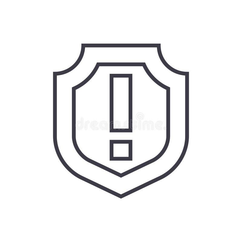 Schild, wichtige Vektorlinie Ikone, Zeichen, Illustration auf Hintergrund, editable Anschläge lizenzfreie abbildung