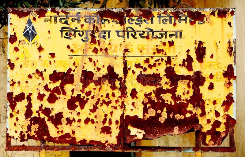 Schild zeigt erschöpfte Kohlengruben von NCL an lizenzfreies stockbild