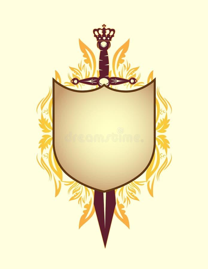 Schild, zwaard en kroon royalty-vrije illustratie