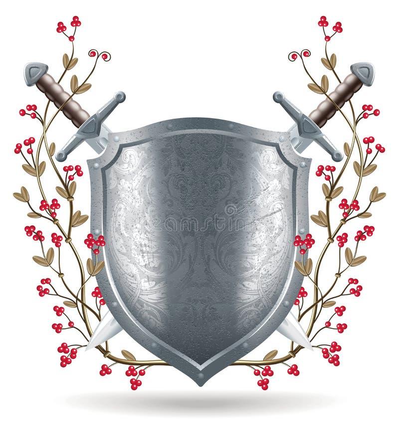 Schild, zwaard en kroonillustratie vector illustratie