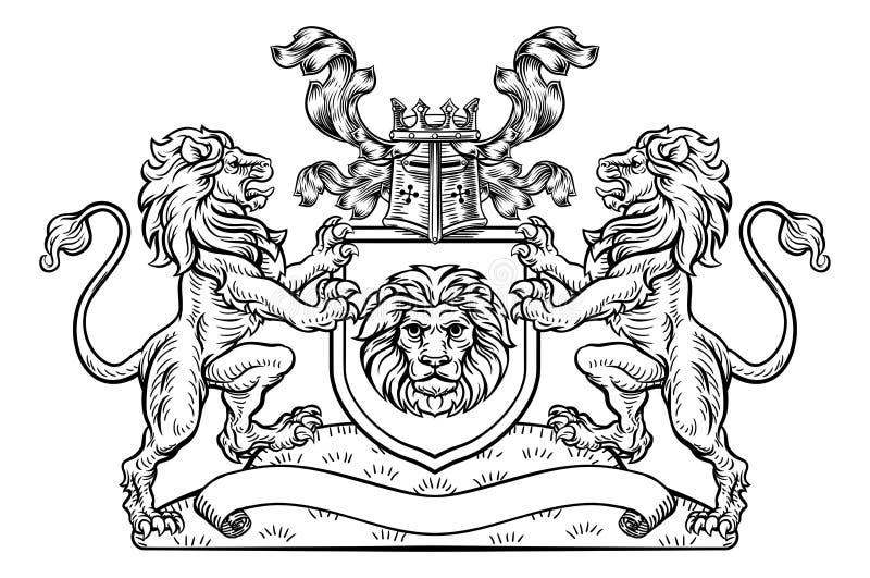 Schildcrest Lion Heraldic Coat van Wapensembleem stock illustratie