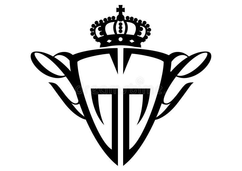 Schildembleem met een kroon royalty-vrije illustratie