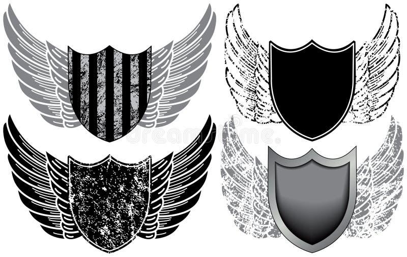 Schilden met Vleugels royalty-vrije illustratie