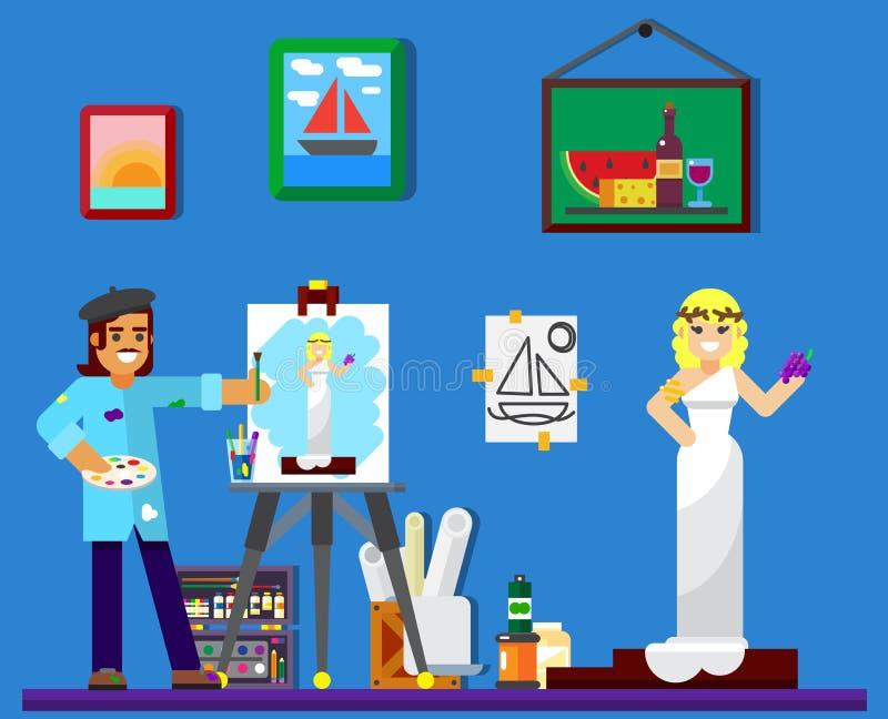Schilder aan het werk, het schilderen model in studio royalty-vrije stock afbeeldingen