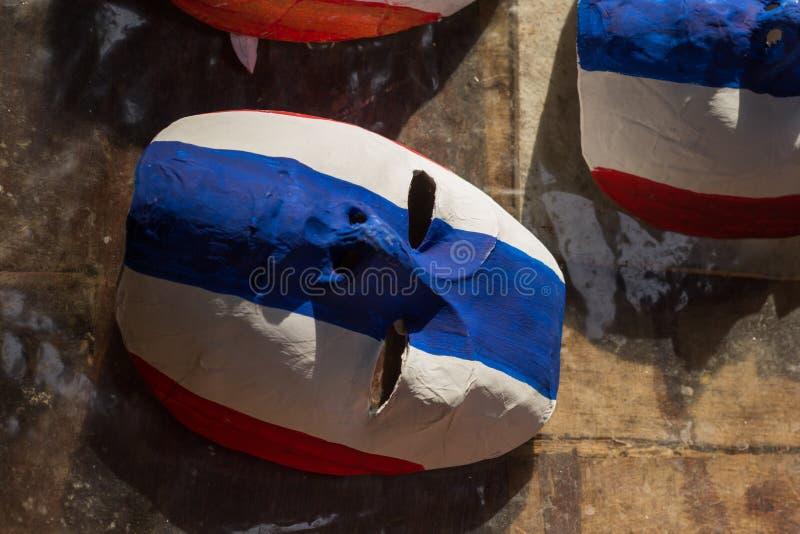 schilder de masker Thaise vlag royalty-vrije stock foto