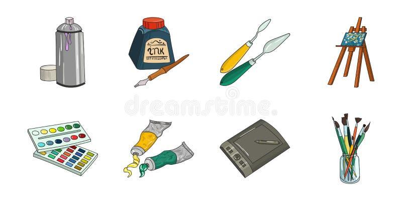 Schilder en tekeningspictogrammen in vastgestelde inzameling voor ontwerp royalty-vrije illustratie