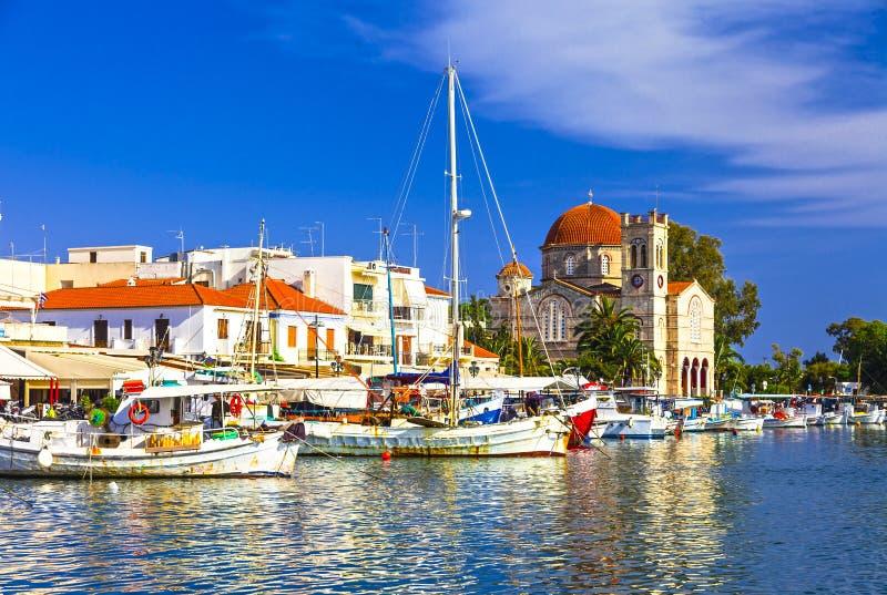 Schilder Griekse eilanden Aegina stock afbeeldingen