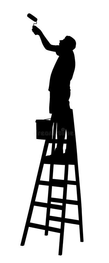 Schilder op ladder het schilderen muur of plafond met verfrol stock illustratie
