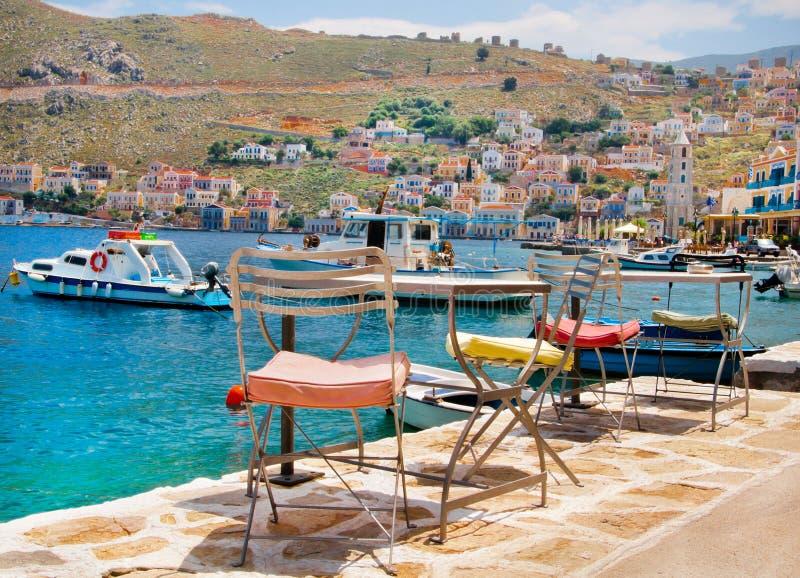 Schilderachtig Eiland Symi, Griekenland stock foto