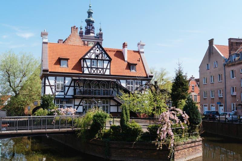 Schilderachtig huis in Gdansk, Polen stock foto