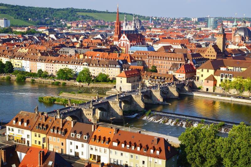 Schilderachtig landschap met Wurzburg, Duitsland royalty-vrije stock foto's