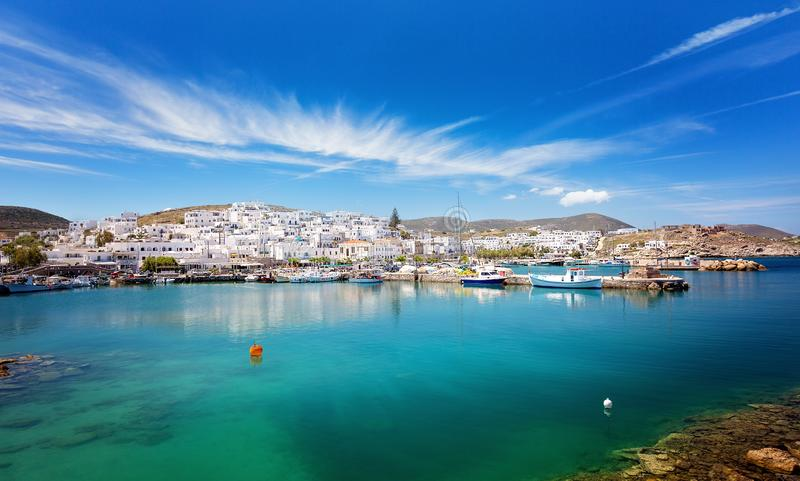 Schilderachtig Naousa-dorp, Paros-eiland, Cycladen, Griekenland stock fotografie