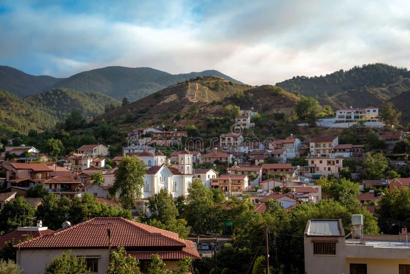 Schilderachtige mening over Galata-dorp met Panagia Odigitria CH royalty-vrije stock afbeelding