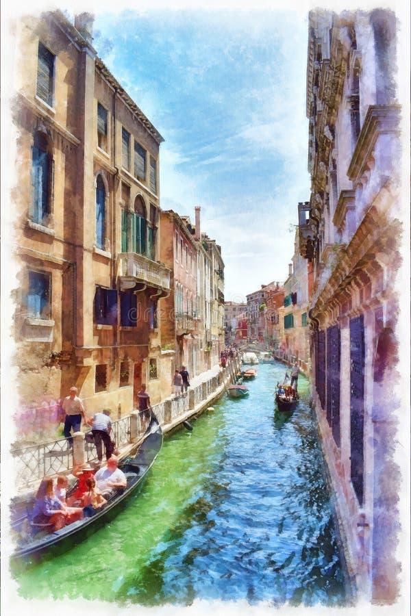 Schilderachtige mening van het Venetiaanse kanaalwaterverf schilderen royalty-vrije illustratie
