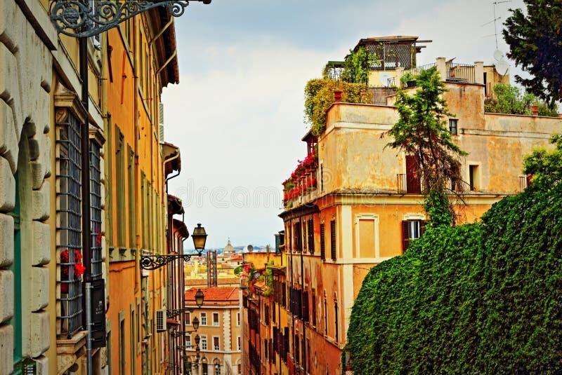 Schilderachtige oude de straatmening Italië van Rome royalty-vrije stock foto's