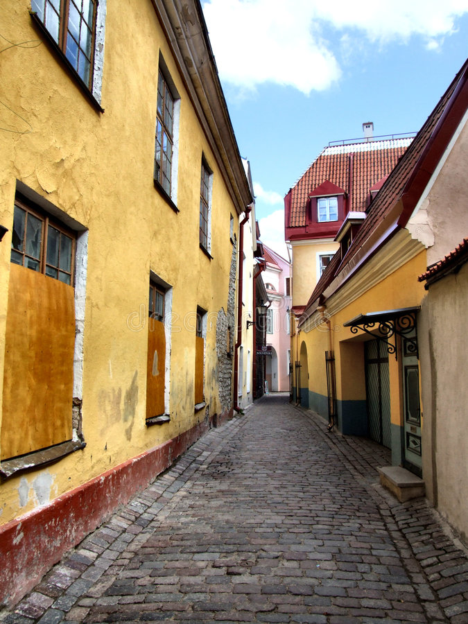 Schilderachtige oude stad - Tallinn in Estland stock afbeelding