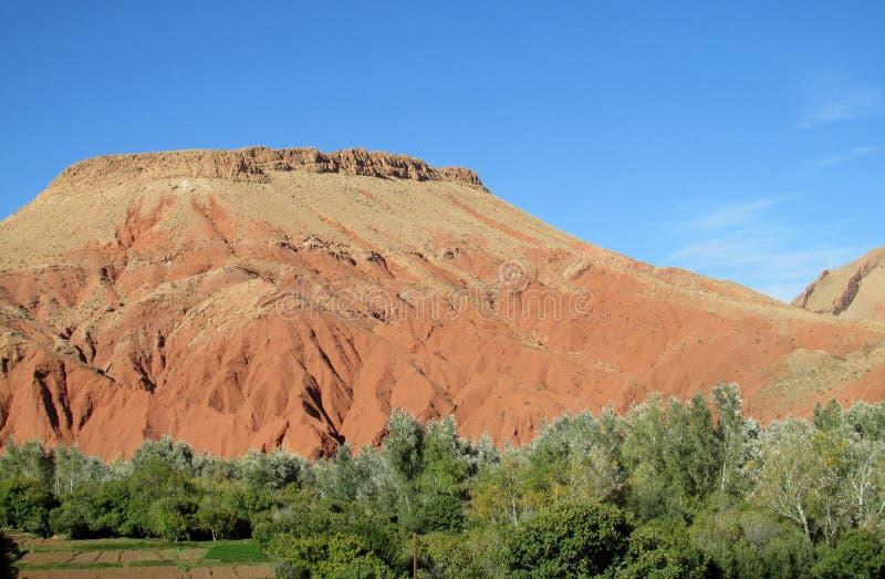 Schilderachtige rode berg en groene het meest froest bij de bodem royalty-vrije stock foto's