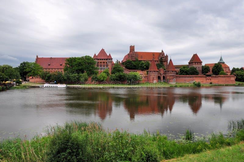 Schilderachtige scène van Malbork-kasteel in Pomerania-gebied, Polen royalty-vrije stock afbeelding