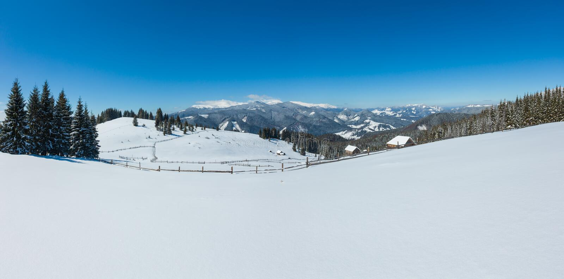 Schilderachtige sneeuw de berghelling van de winterskupova en eenzame boerderij op Karpatische plateauboerderij, de Oekraïne, Ver stock foto's