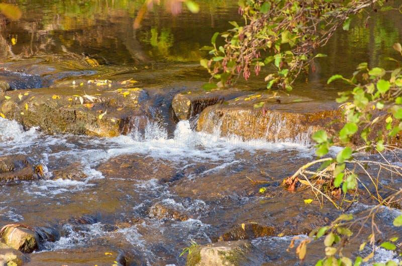 Schilderachtige waterval op een snel stromende stroom stock afbeeldingen