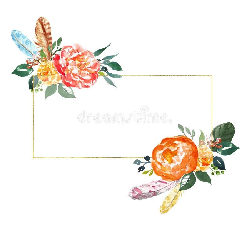 Schilderde de waterverf bloemenbanner met hand oranje en gele bloemen en groen blad op witte achtergrond Pre-gemaakt gouden kader stock illustratie
