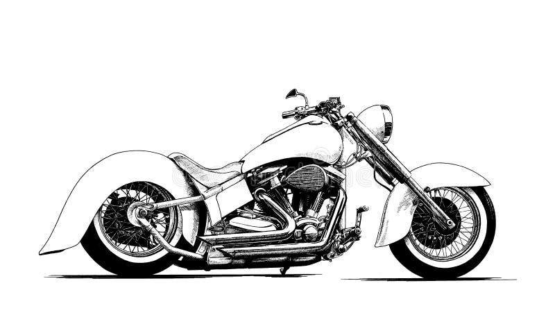 Schilderde de zwart-witte motorfiets stock foto's
