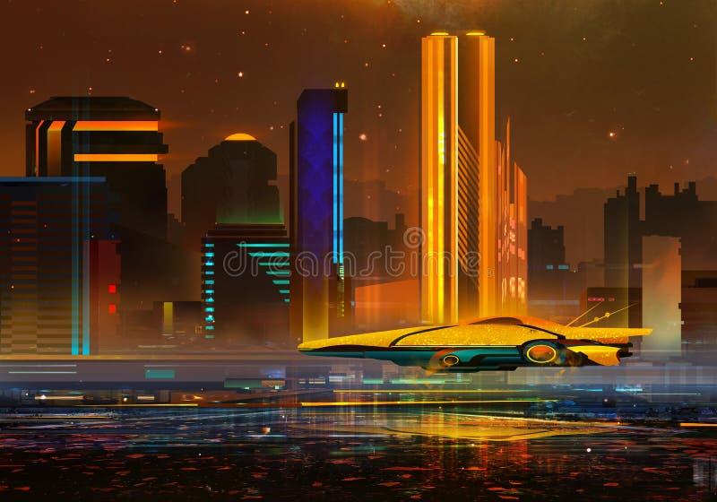 Schilderde een fantastisch stedelijk nachtlandschap van de toekomst stock illustratie