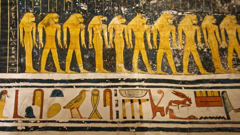 Schilderen gevonden in het graf van Koning Tut in de Vallei van de Koningen in Luxor, Egypte stock foto