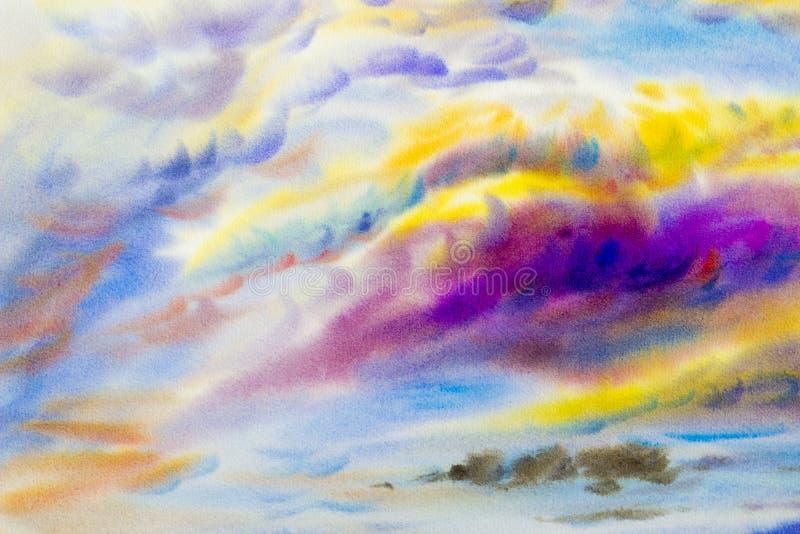 Schilderen kleurrijk van schoonheid in aard met wolkenhemel vector illustratie
