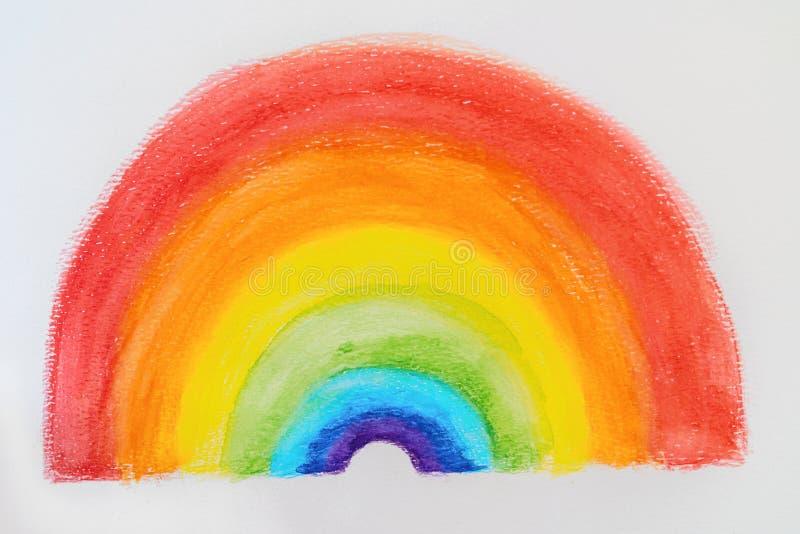 Schilderen van regenboogkinderen die in gouache kleurrijk aquarelle tekenen voor positiviteit tijdens de COVID-19-pandemie stock afbeeldingen