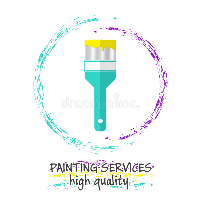 Schilderend de Dienstenembleem Borstel voor het schilderen en geschilderde rassenbarrières stock illustratie