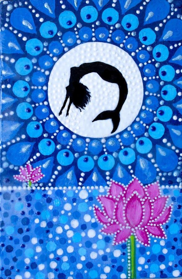 Schilderend, een meermin, die van het meer bij de maan springen De illustratie van de bloemZen van Lotus royalty-vrije illustratie