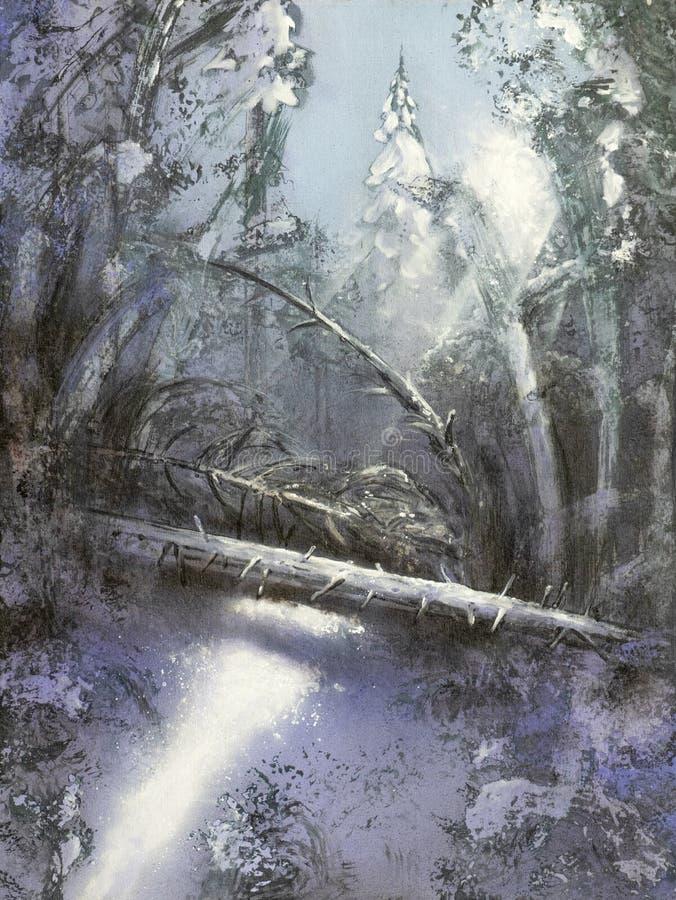 Schilderend het bos van de Kerstmiswinter met sneeuw in zonlicht met stralen van lichte en gevallen boom wordt behandeld die stock illustratie