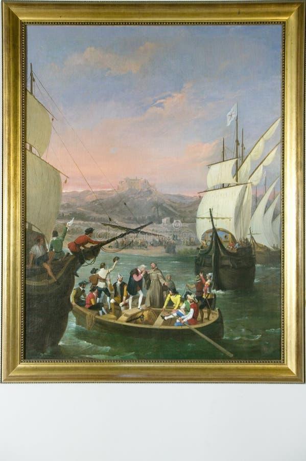 Schilderend het Vertrek van La Rabida door Cabral Bejarano, schildert het vertrek van Christopher Columbus aan de Nieuwe Wereld a royalty-vrije stock foto's