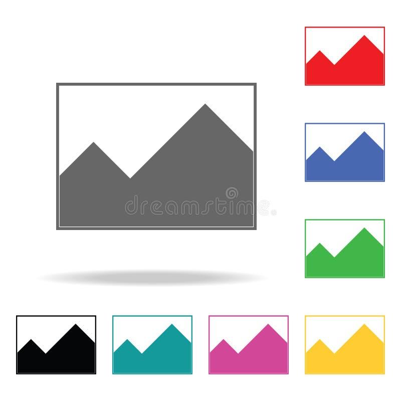 Schilderend heuvelspictogram Elementen in multi gekleurde pictogrammen voor mobiel concept en Web apps Pictogrammen voor websiteo stock illustratie