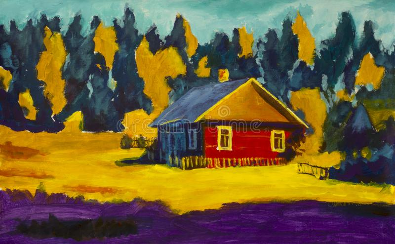 Schilderend landelijk dorpshuis, zonnig landschap, de zomerlandschap tegen de achtergrond van het bos vector illustratie