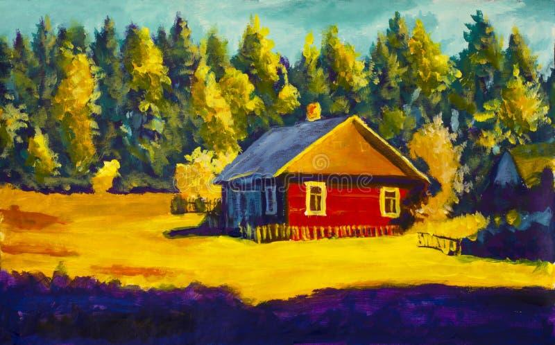 Schilderend landelijk dorpshuis, zonnig landschap, de zomerlandschap tegen de achtergrond van het bos royalty-vrije illustratie