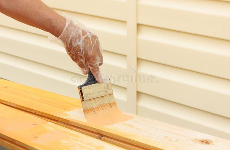 Schilderend naakt hout royalty-vrije stock afbeelding