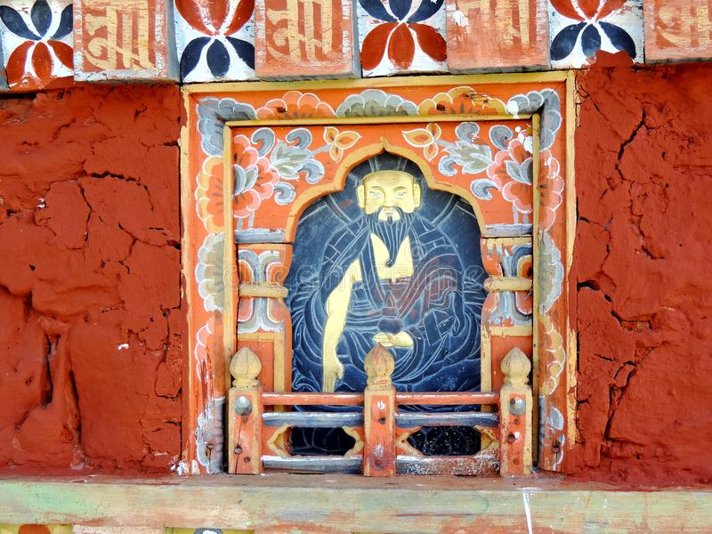 Schilderend op Druk Wangyal Chortens bij Dochula-Pas, Bhutan royalty-vrije stock foto