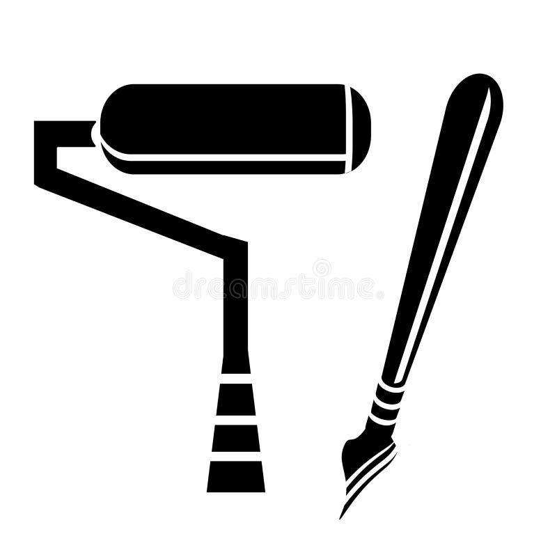 Schilderend pictogram vectordieteken en symbool op witte achtergrond, het Schilderen embleemconcept wordt geïsoleerd stock illustratie