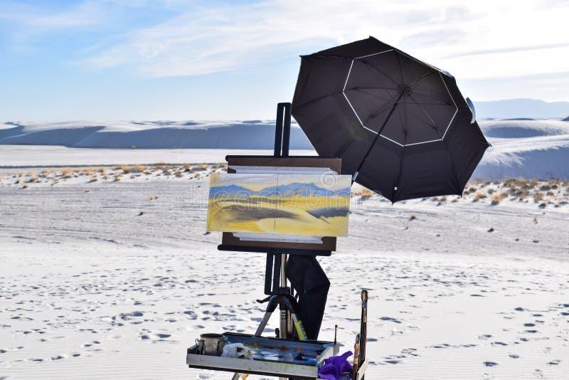 Schilderend in Witte Zandwoestijn, New Mexico, de V.S. stock afbeeldingen