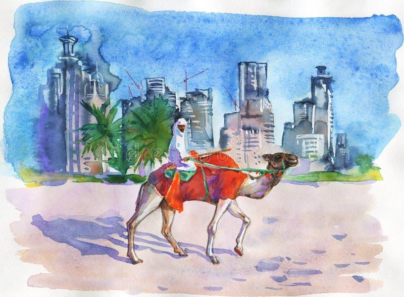 Schilderende Arabische cityscape van Emiraten Waterverf Doubai, sjeik, kameel, strand en wolkenkrabber royalty-vrije illustratie