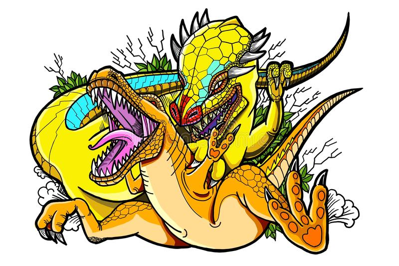 Schilderende Dinosaurus stock illustratie