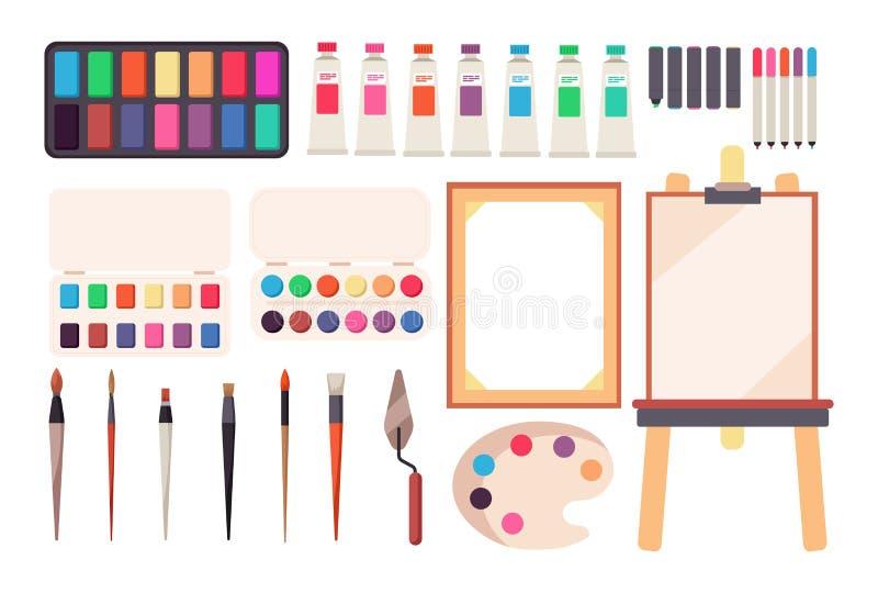 Schilderende hulpmiddelen Beeldverhaalpenseel en canvas, schildersezel en verven Waterverfpalet Artistieke vectorreeks stock illustratie