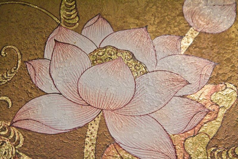 Schilderende lotusbloem stock afbeeldingen