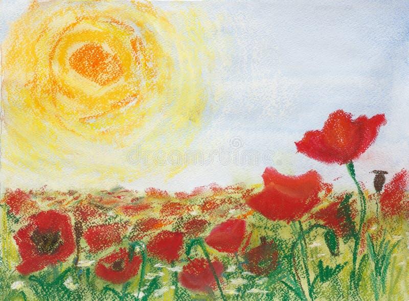 Schilderende pastelkleuren en waterverf op document ` Papavers en zon ` vector illustratie
