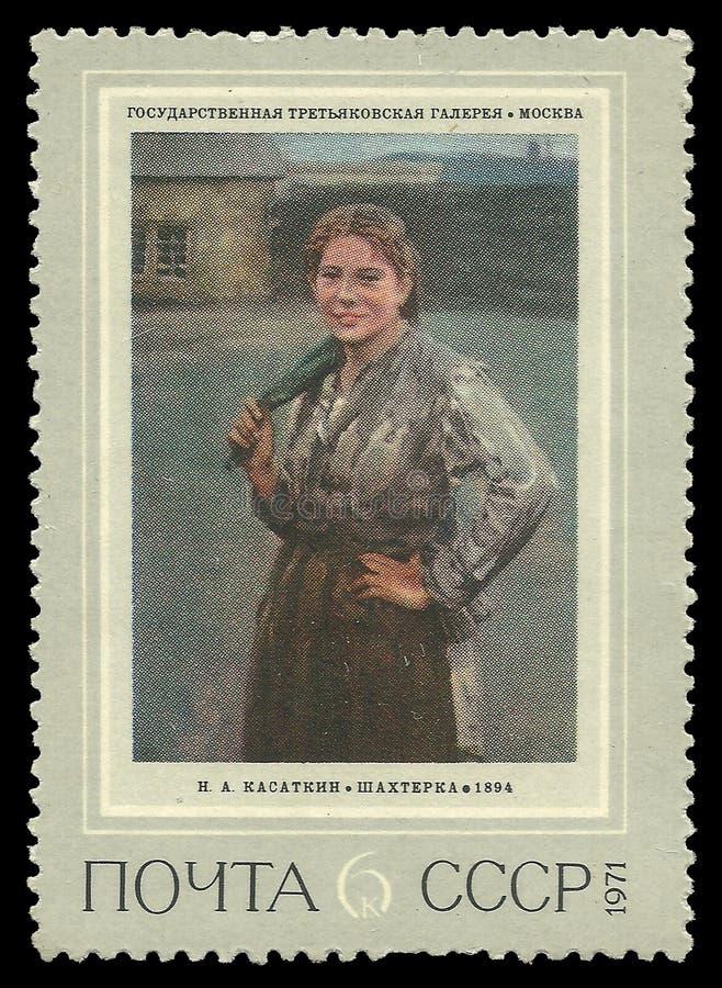 Schilderende Vrouwenmijnwerker door Kasatkin royalty-vrije stock foto