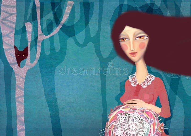 Schilderende zwangere vrouw Het mooie acryl schilderen op canvas van gestileerde zwangere vrouw op een abstracte kleurrijke patro vector illustratie