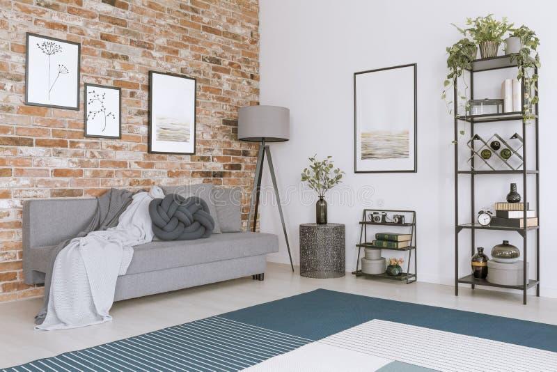 Schilderijen in comfortabele woonkamer vector illustratie